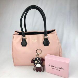 Kate Spade Pink/Black Leather Satchel W/Keychain